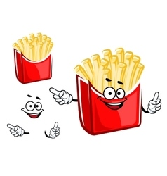 Cartoon french fries box character vector image