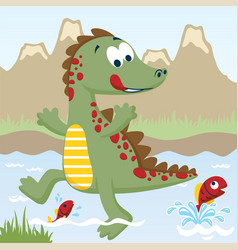 Cartoon of funny dinosaur trying to catch fish on vector