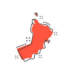 cartoon oman map icon in comic style oman sign vector image