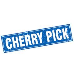 Cherry pick square stamp vector