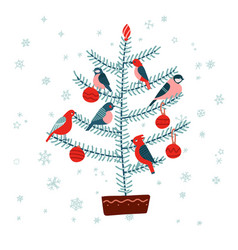 christmas fir tree with birds decorated with vector image