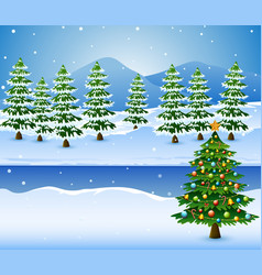 christmas tree decorated with a pine trees backgro vector image