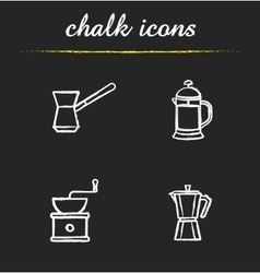 Coffee brewing tools chalk icons set vector