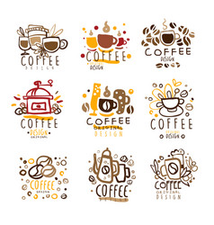Coffee original colorful graphic design template vector