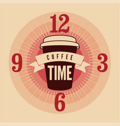 Coffee time typographical vintage style poster vector