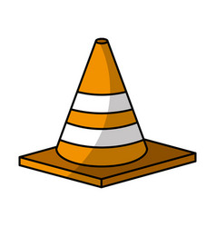 Construction cone isometric icon vector