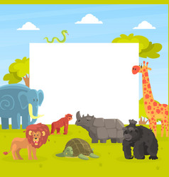 cute jungle animals with white empty banner vector image