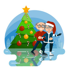 cute seniors in winter clothes skating on ice vector image