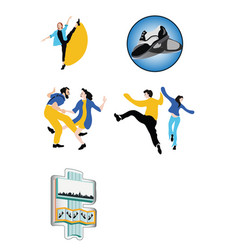 dancing people and paraphernalia on white vector image