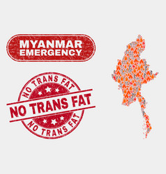 Danger and emergency collage myanmar map and vector