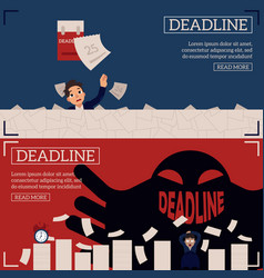deadline and time management horizontal banners vector image