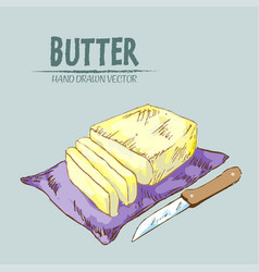 digital detailed line art butter vector image