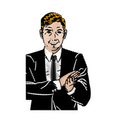 Drawing pop art man suit applauding hands vector