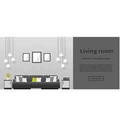 elegance living room interior banner for your web vector image