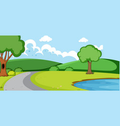 Empty park landscape scene with pond vector