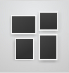 empty white photoframes with black blank vector image