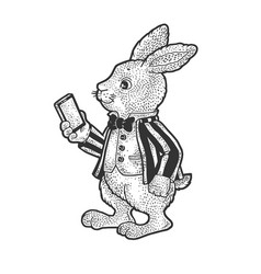 fairytale rabbit smartphone sketch vector image