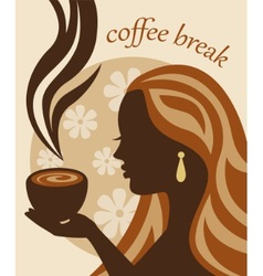 female silhouette with a cup of coffee in hand vector image
