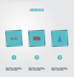 Flat icons japan paris bridge and other vector