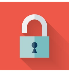 Flat open padlock icon over red vector