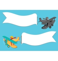 flying vintage plane with banner vector image