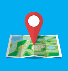 folded paper city map icon vector image