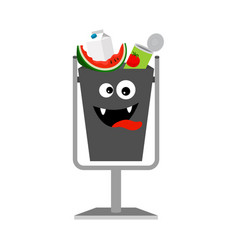 Garbage can with organic trash vector