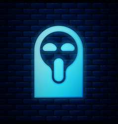 Glowing neon funny and scary ghost mask for vector