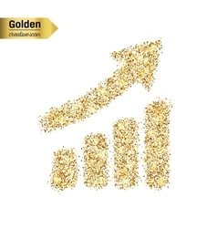 Gold glitter icon of diagram isolated on vector