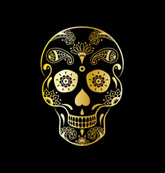 golden sugar skull with floral pattern vector image