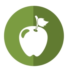 Green apple leave fruit shadow vector