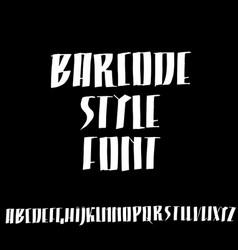 Grunge ink font simple barcode script vector