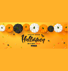 halloween sale promotion poster with pumpkins vector image