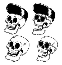 hand drawn skulls in baseball cap design element vector image