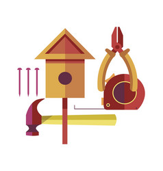 handicraft made of wood with special tools set vector image