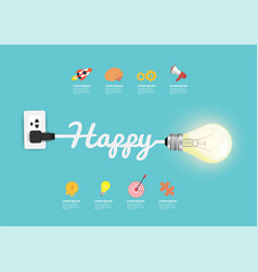 happy concept with creative light bulb idea vector image