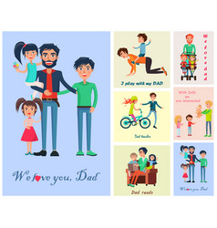 Happy life moments with father pictures poster vector