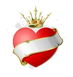heart with ribbon and crown vector image