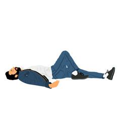 homeless man sleeping on street in park vector image