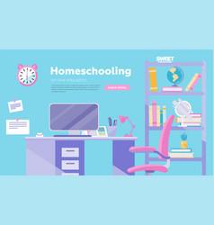 homeschooling inflat cartoon vector image