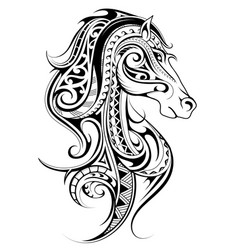 Horse shape tattoo vector