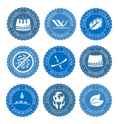 Icons set of fabric features collection vector