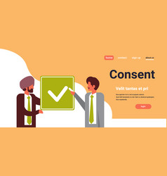 Indian business people agreement green consent vector