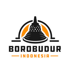 indonesian borobudur temple logo vector image