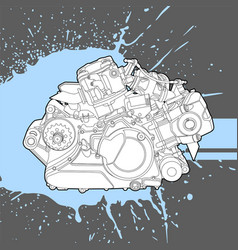 internal combustion engine from the machine vector image vector image