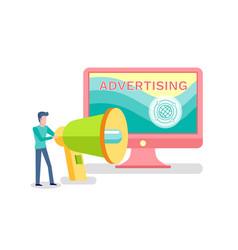 internet advertising worldwide man with megaphone vector image