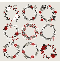 Isolated christmas floral ponsettia decor wreaths vector