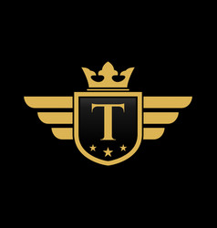 letter t shield wing vector image