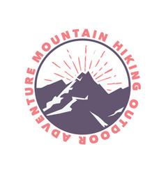 logo design mountain hiking outdoor adventure vector image