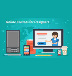 long business banner - online courses designers vector image